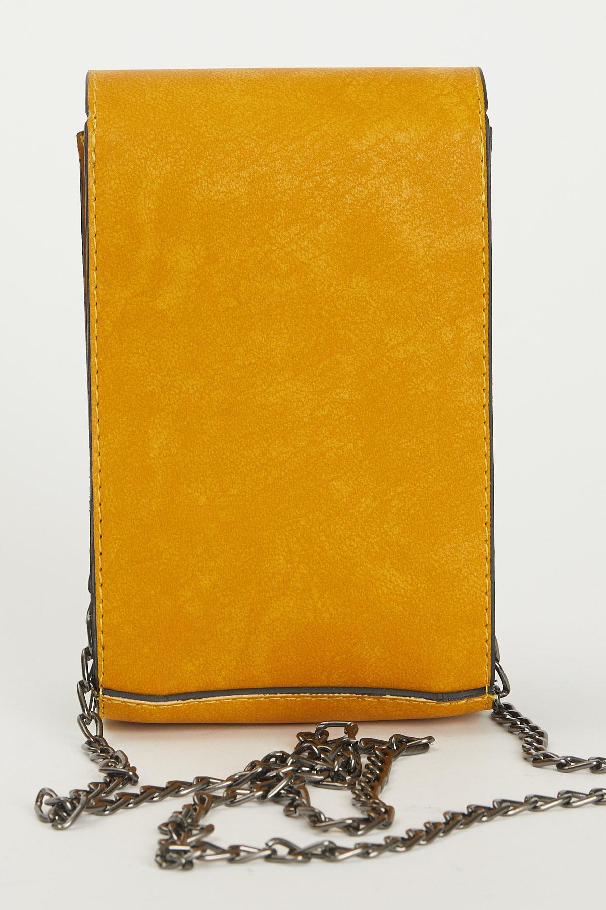 Tonny Black Kadın Sarı Kutu Kilit Ve Zincir Detaylı Çapraz Çanta 2