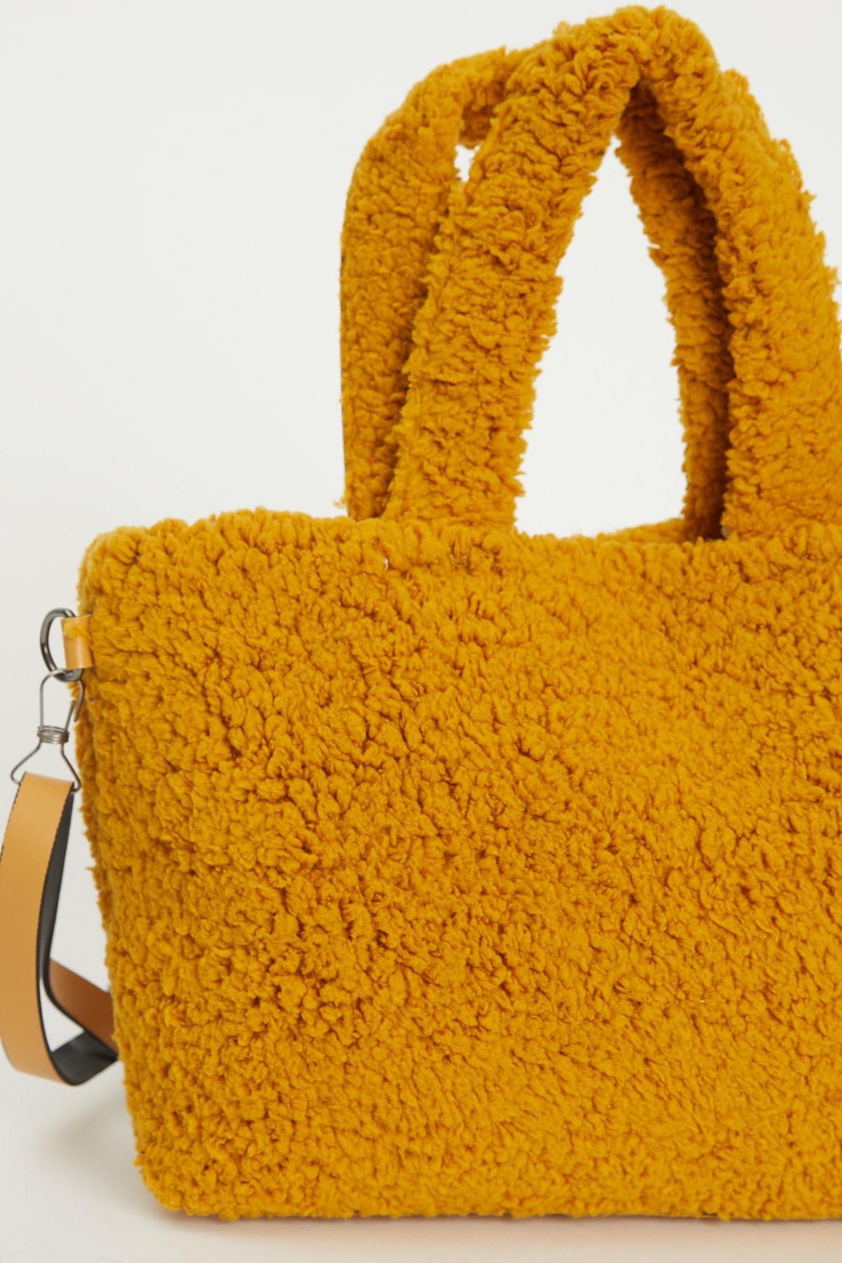 Tonny Black Kadın Sarı Elde Tutma Çapraz Kullanım Peluş Çanta 2