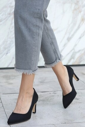 Mio Gusto Lita Siyah Süet Topuklu Ayakkabı