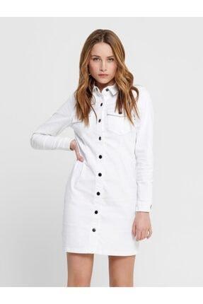 Only Kadın Beyaz Denim Elbise