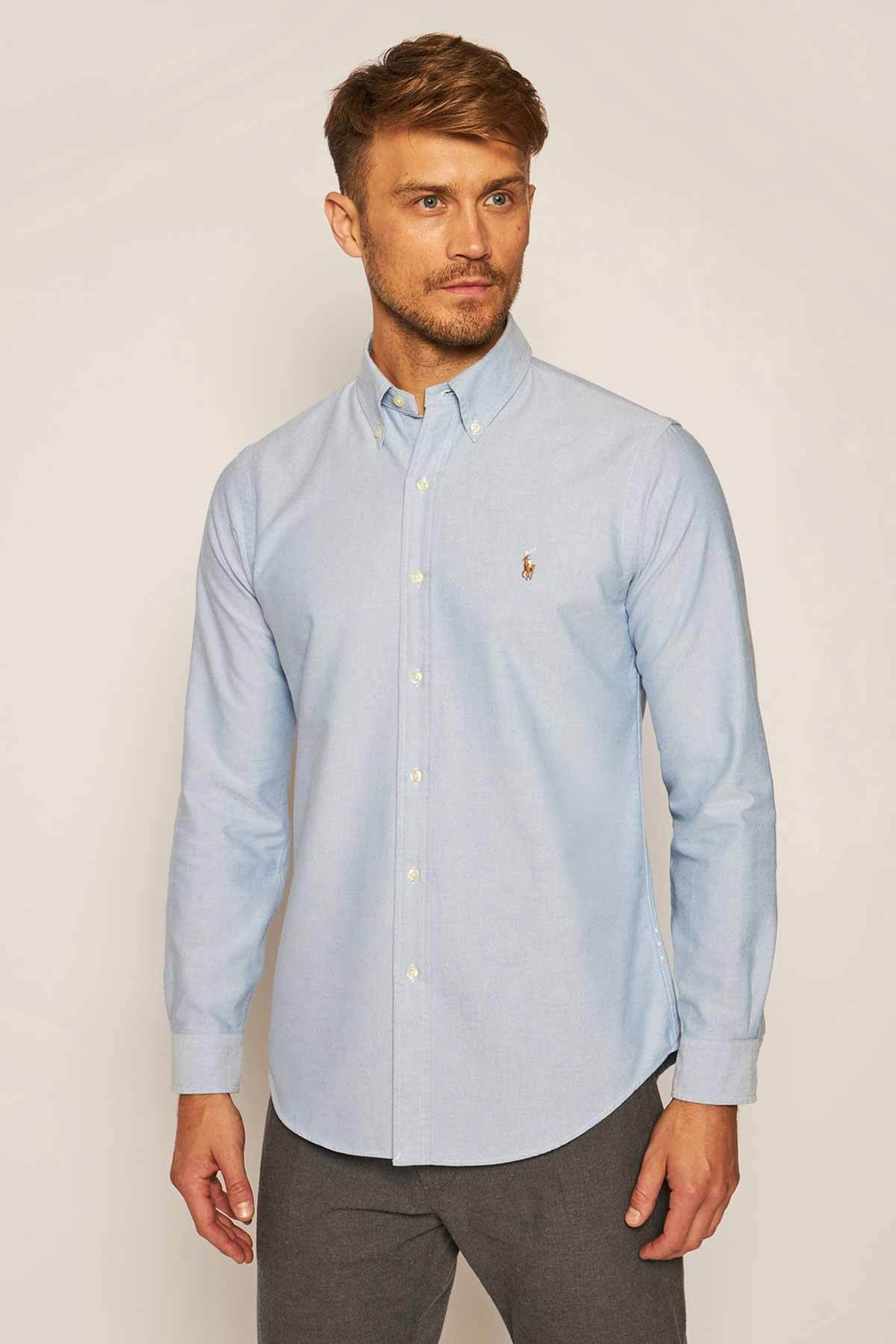 Polo Ralph Lauren Erkek Mavi Fit Oxford Gömlek 1