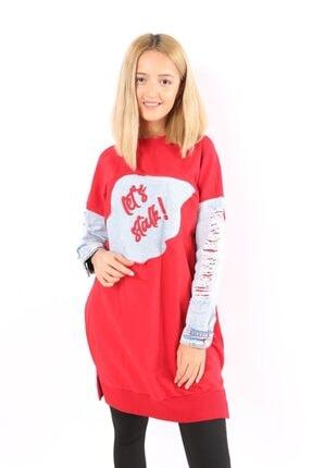 Loreen Kadın Kırmızı Kol Detaylı Uzun Tunik 20k30528