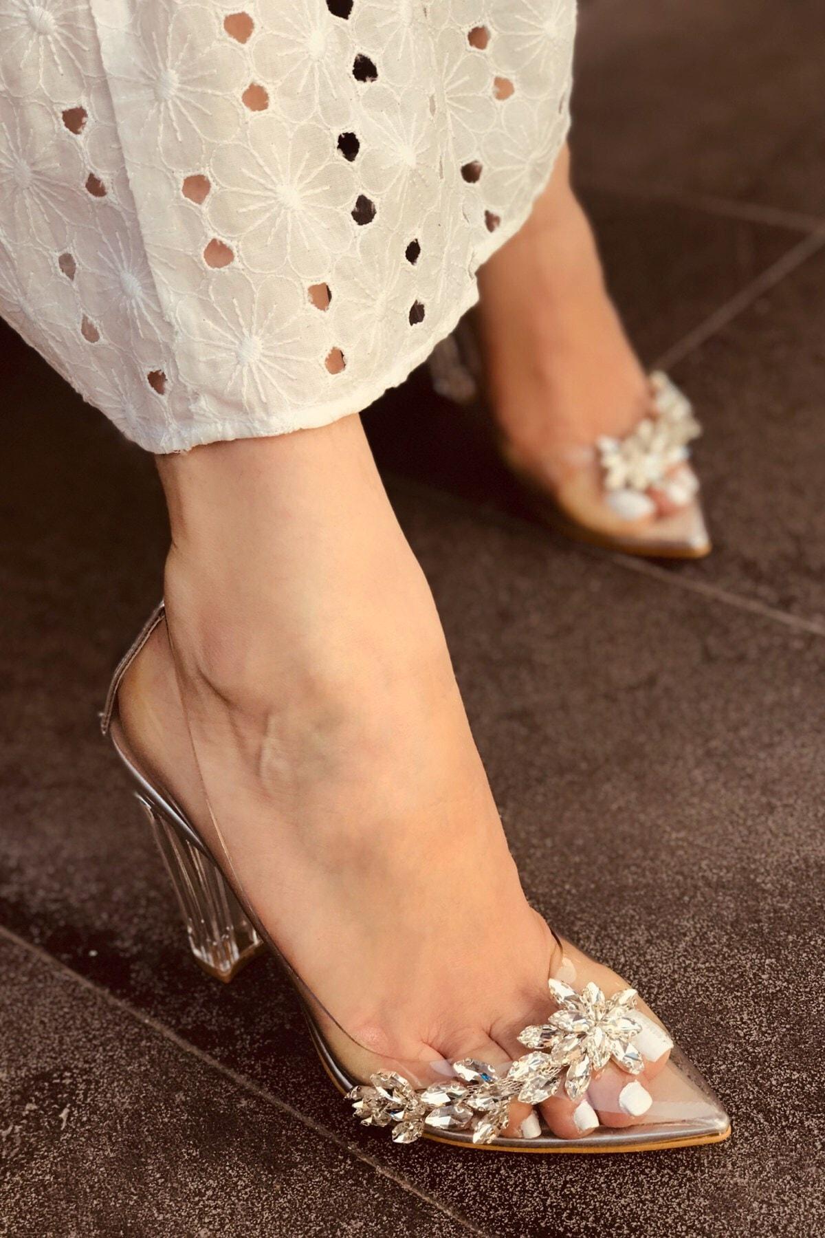 LAMİNTA Princess Gümüş Şeffaf Kadın Topuklu Ayakkabı 2