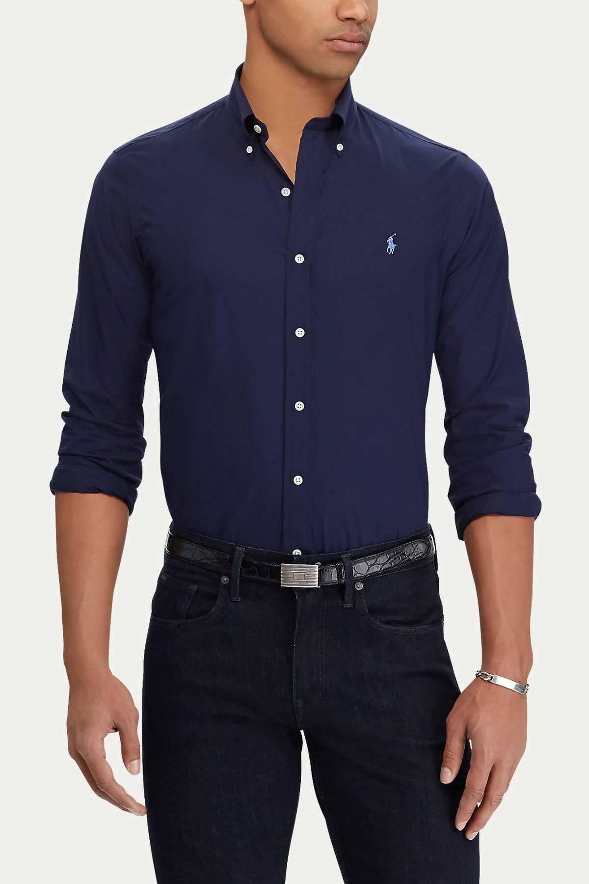 Polo Ralph Lauren Erkek Lacivert Slim Fit %100 Pamuk Stretch Gömlek 1
