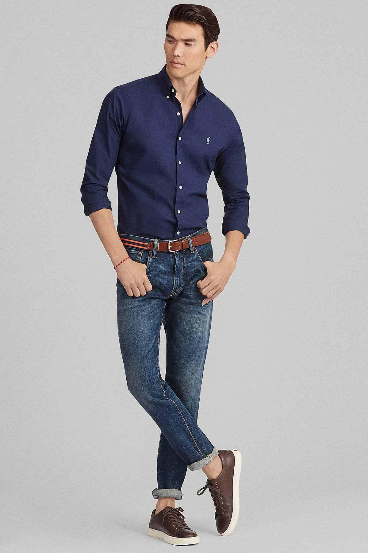 Polo Ralph Lauren Erkek Lacivert Slim Fit %100 Pamuk Stretch Gömlek 2