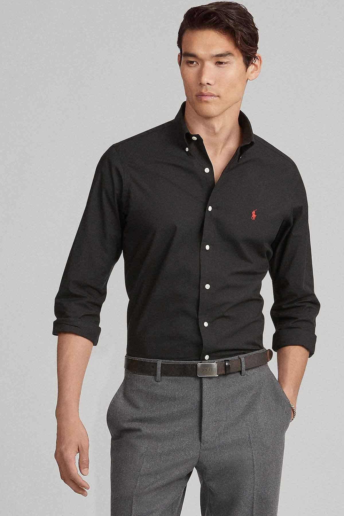 Polo Ralph Lauren Erkek Siyah Slim Fit Gömlek 1
