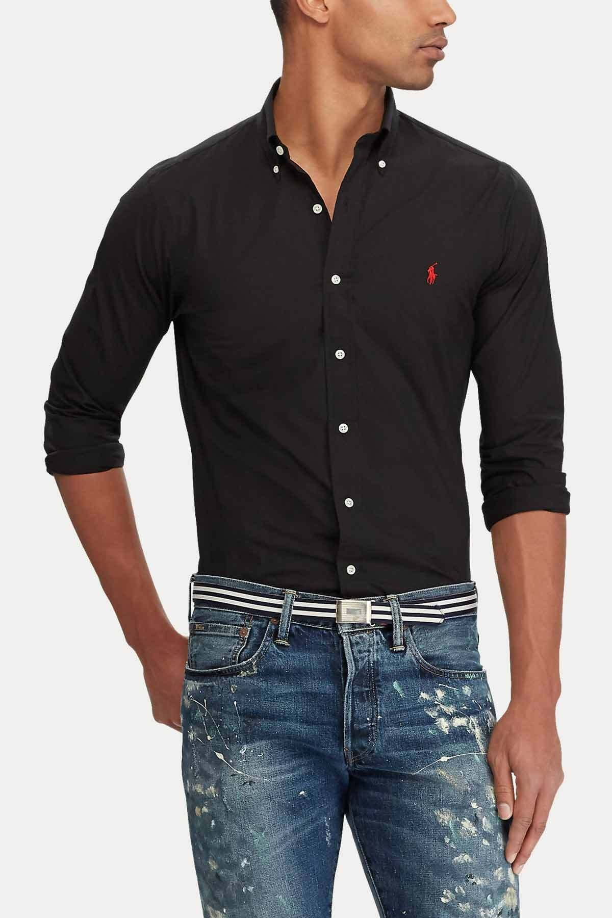 Polo Ralph Lauren Erkek Siyah Slim Fit Gömlek 2