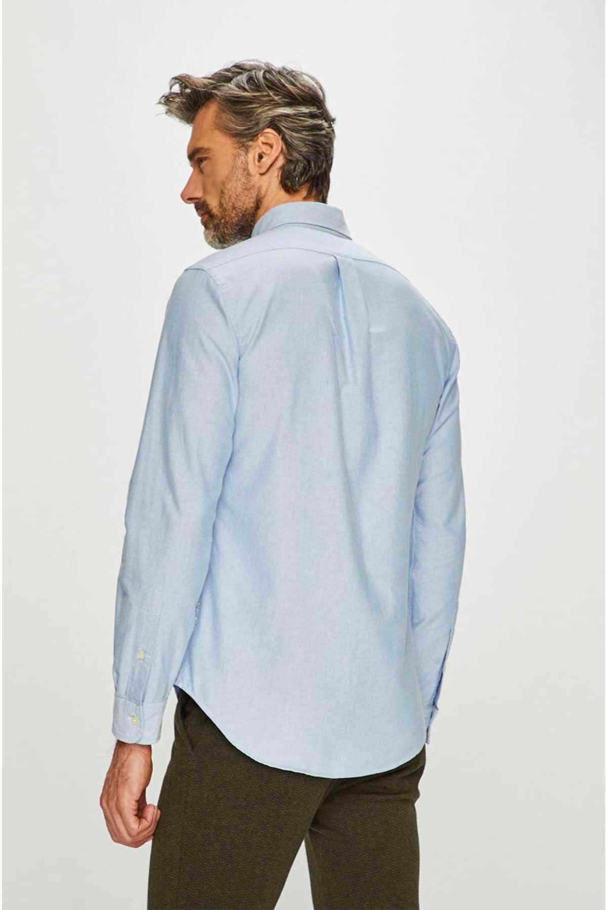 Polo Ralph Lauren Erkek Mavi Slim Fit Oxford Gömlek 2