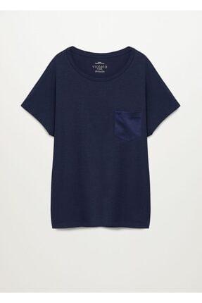Violeta by MANGO Kadın Lacivert Organik Pamuklu Cepli Tişört