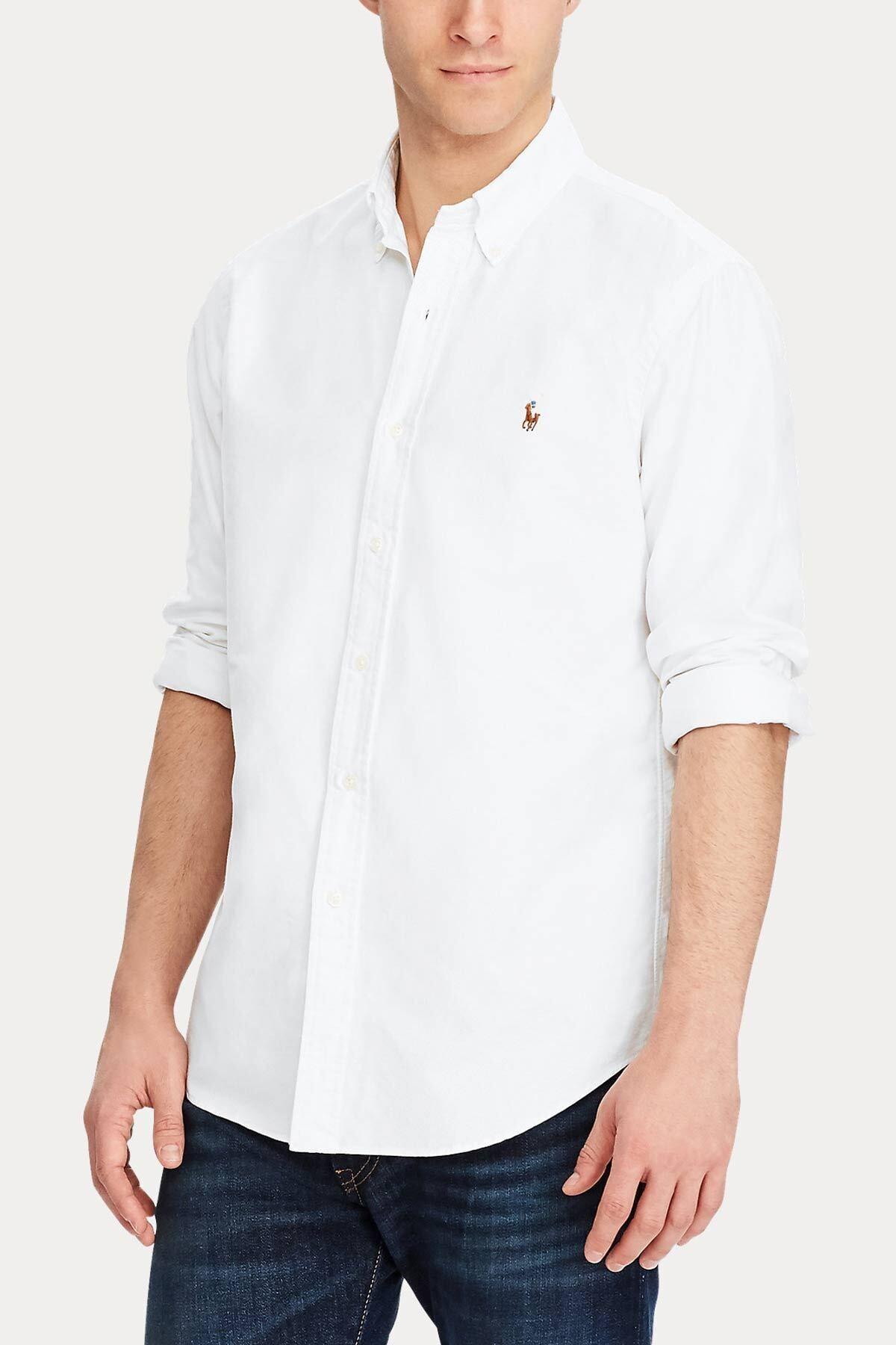 Polo Ralph Lauren Erkek Beyaz Slim Fit Oxford Gömlek 1