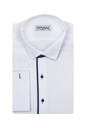 SÜVARİ Erkek Beyaz Ata Yaka Slim Fit Gömlek