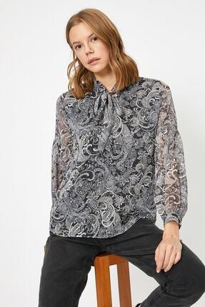 Koton Kadın Siyah Desenli Bluz 0kak68973cw