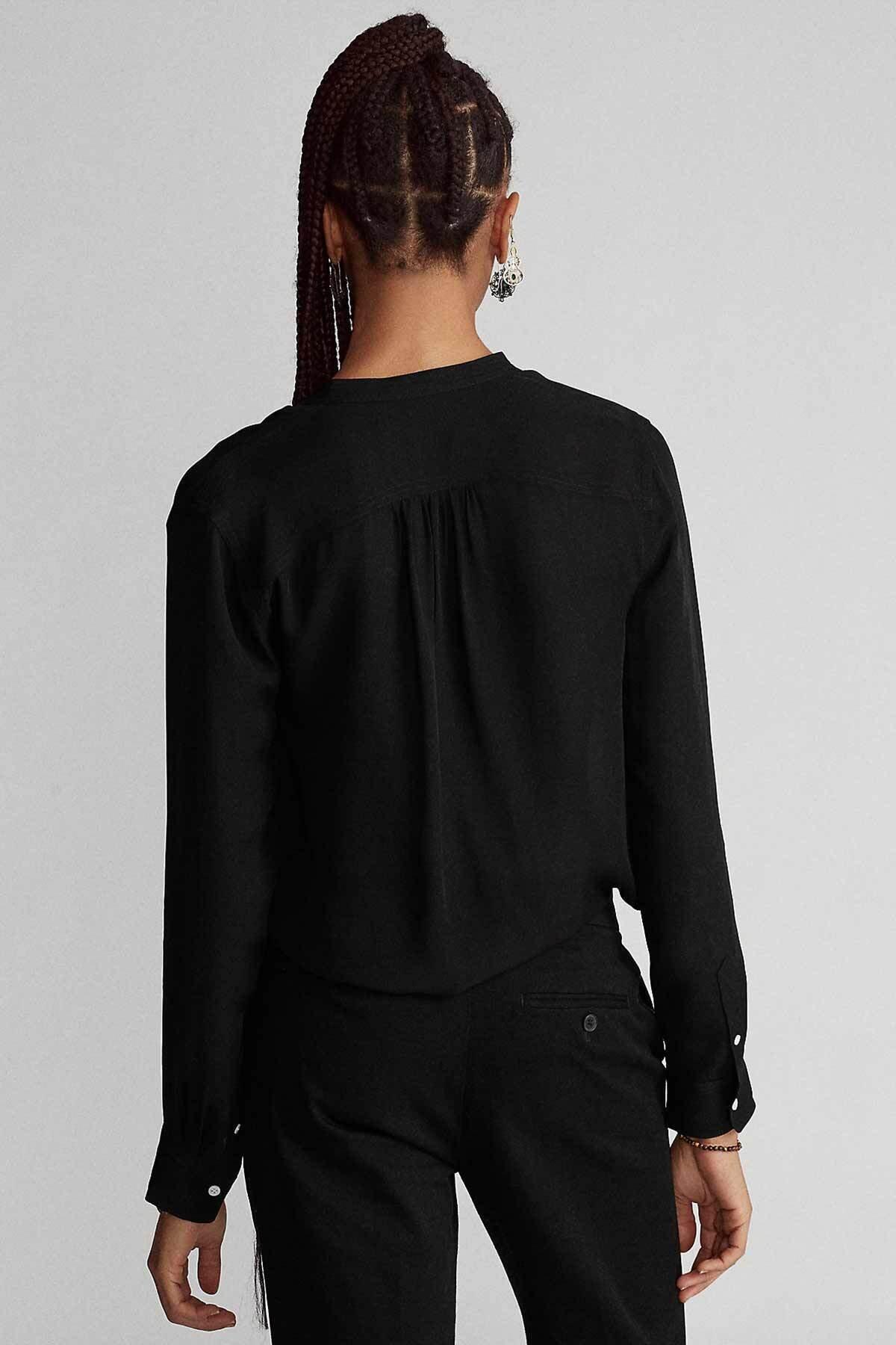 Polo Ralph Lauren Kadın Siyah V Yaka Ipek Gömlek 2