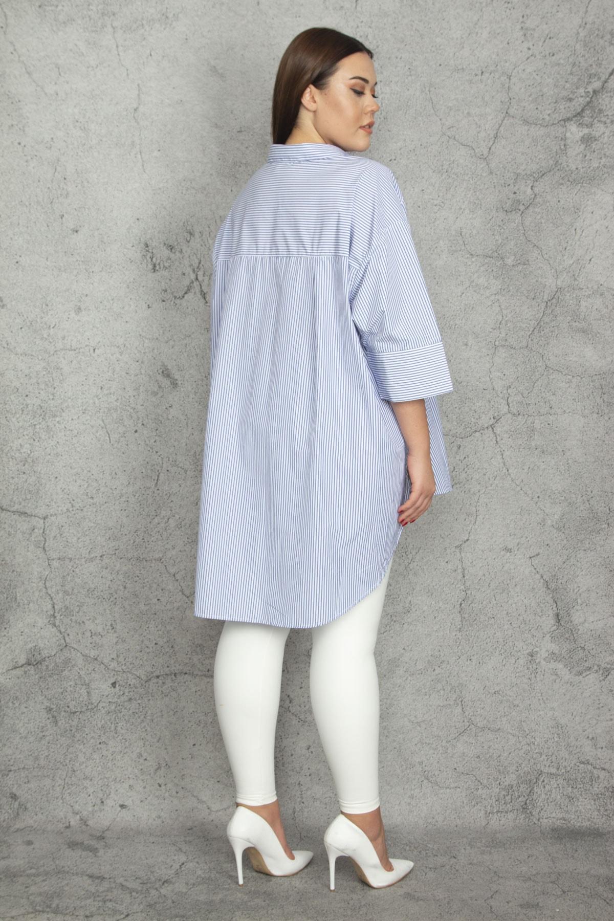 Şans Kadın Mavi Oversize Çizgili Koton Gömlek 65N20742 2