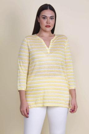 Şans Kadın Sarı Sim Detaylı Çizgili Bluz 65N21086