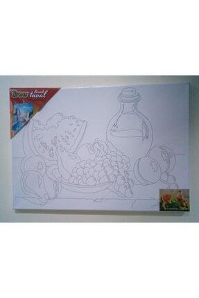 Brons Resimli Tuval Meyve Tabağı 35x50