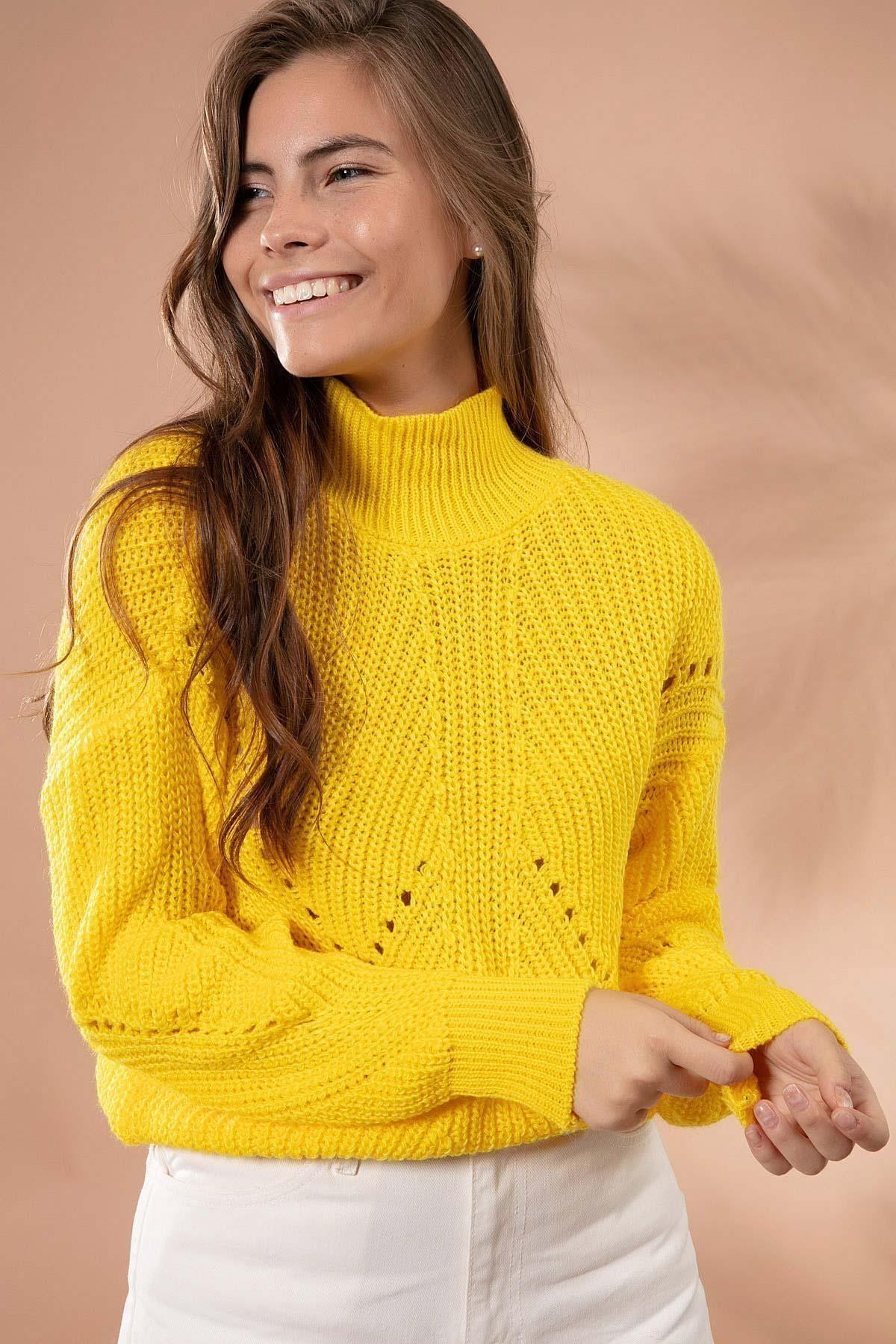 Y-London Kadın Sarı Uzun Boğazlı Triko Kısa Kazak 5111-2 2