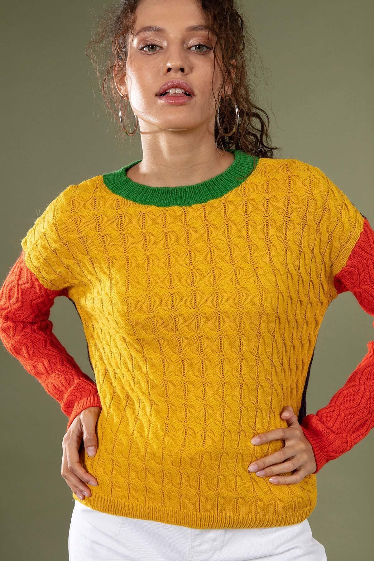 Y-London Kadın Sarı Bisiklet Yaka Ön Kol Arka Renkli Kazak 80131 1