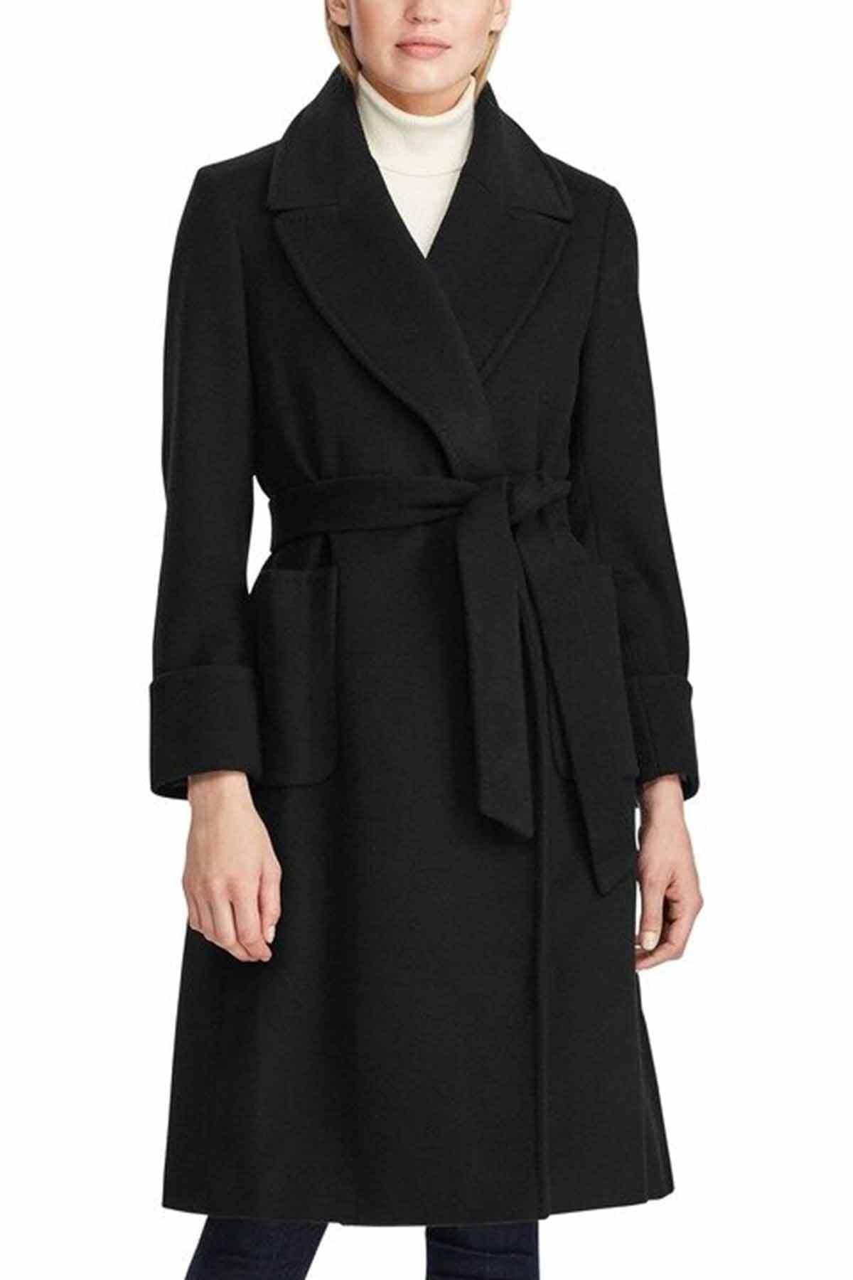 Polo Ralph Lauren Kadın Siyah Belden Kuşaklı Kaşmirli Palto 1