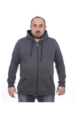 Msr Erkek Antra Melanj Kapüşonlu Fermuarlı Sweatshirt