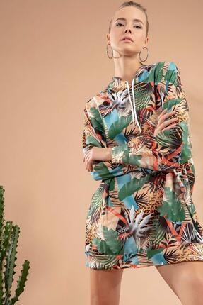 Y-London Kadın Yeşil Mavi Tropikal Desenli Kapşonlu Sweatshirt Elbise Y20W110-4125-11