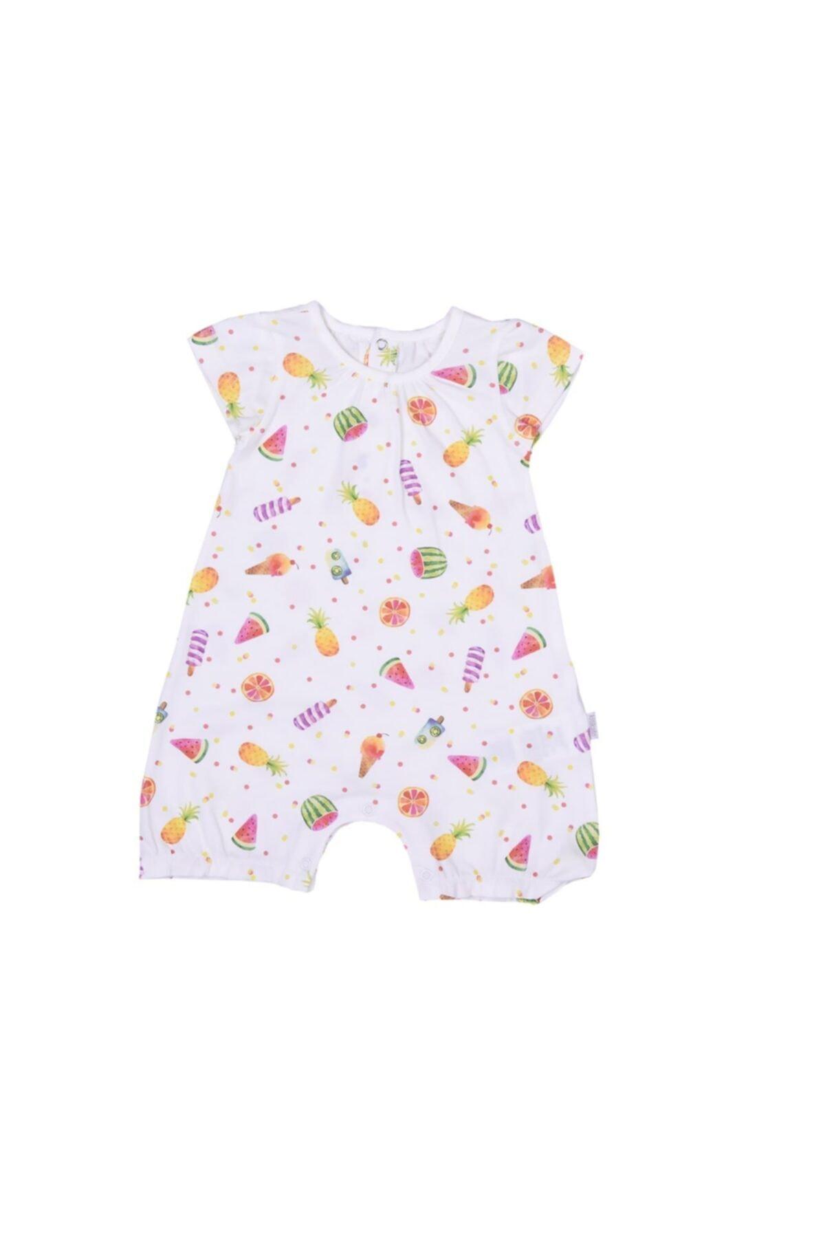 kitikate Kız Bebek Ekru Organik Meyveli Tulum S86065 2
