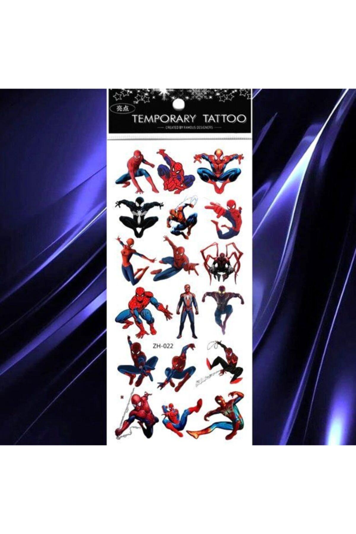 Market66 Geçici Çocuk Dövmesi 18 Adet Örümcek Adam Spiderman Su Geçirmez Tattoo 1