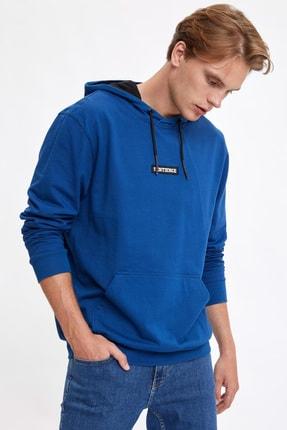 DeFacto Erkek Blue Baskılı Kapüşonlu Slim Fit Sweatshirt R0966AZ20AU