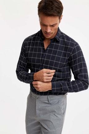 DeFacto Erkek Lacivert Modern Fit Uzun Kolu Gömlek