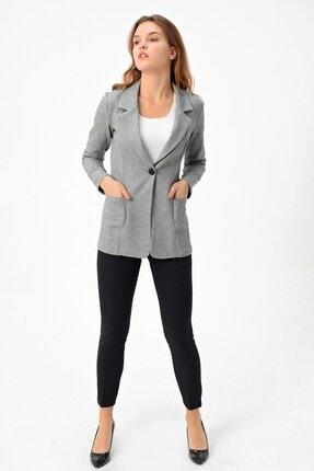 Jument Kadın Gri Desenli Düğmeli Uzun Kol Şık Blazer Ceket