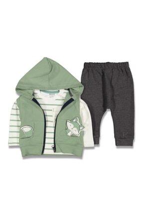 GG Bambino Erkek Bebek Yeşil Tilki Kabartmalı Yelekli 3'lü Takım