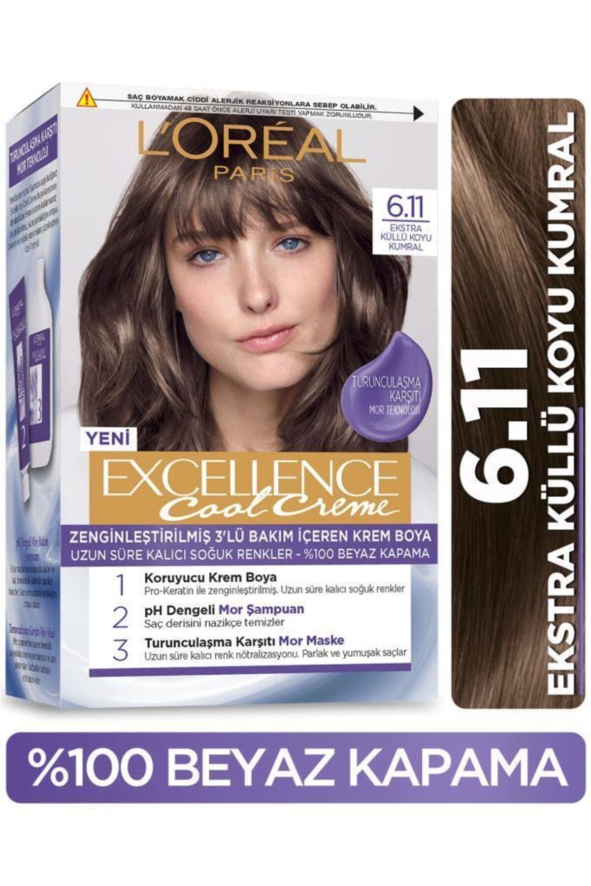 L'Oreal Paris L'oréal Paris Excellence Cool Creme Saç Boyası – 6.11 Ekstra Küllü Koyu Kumral 1