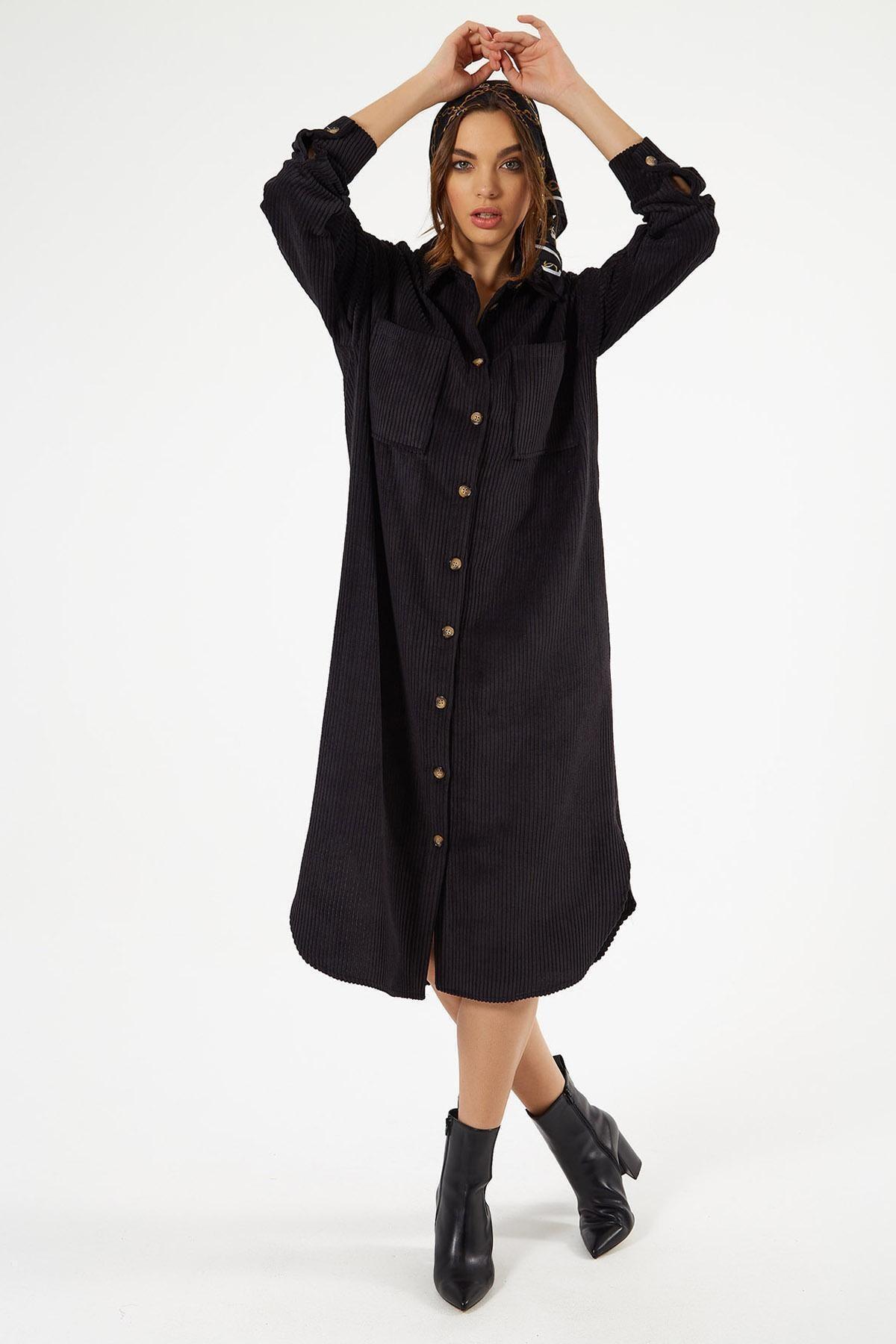 Pattaya Kadın Kadife Uzun Gömlek Elbise Y20w110-00665 1