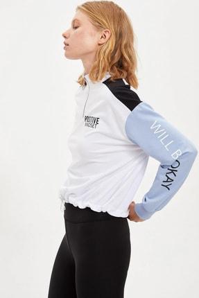 DeFacto Fit Kadın Whıte Renk Bloklu Baskı Detaylı Yarım Fermuarlı Sweatshirt S1290AZ20AU