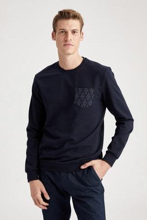 DeFacto Cep Detaylı Slim Fit Bisiklet Yaka Sweatshirt