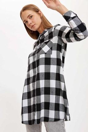 DeFacto Kadın Black Red Kareli Cep Detaylı Gömlek Tunik T1162AZ20AU