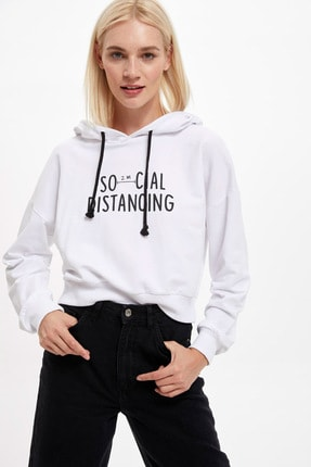 DeFacto Kadın Beyaz Pug Baskılı Crop Sweatshirt