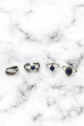 Ezo Concept Vintage Lapis Lazuli Taşlı Gümüş Kaplama Eklem Yüzüğü 4 ' Lü