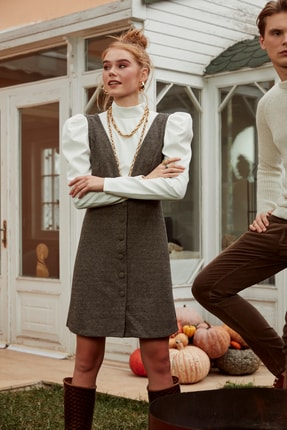 TRENDYOLMİLLA Vizon Düğme Detaylı Örme Jile Elbise TWOAW20EL2099
