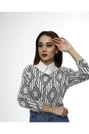 mirach Kadın Krem Yaka Detaylı Gömlek