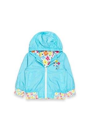 Midimod Seviteks Kız Çocuk Buz Mavisi Çiçekli Yağmurluk M20329