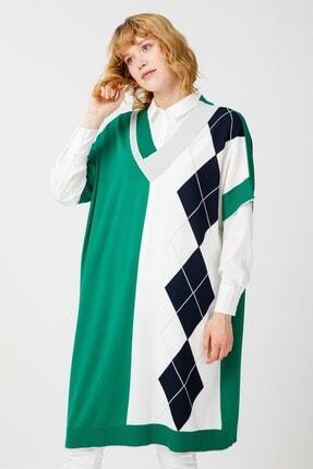Tığ Triko Kadın Benetton Baklava Desenli Oversize Rayon Süveter Tunik