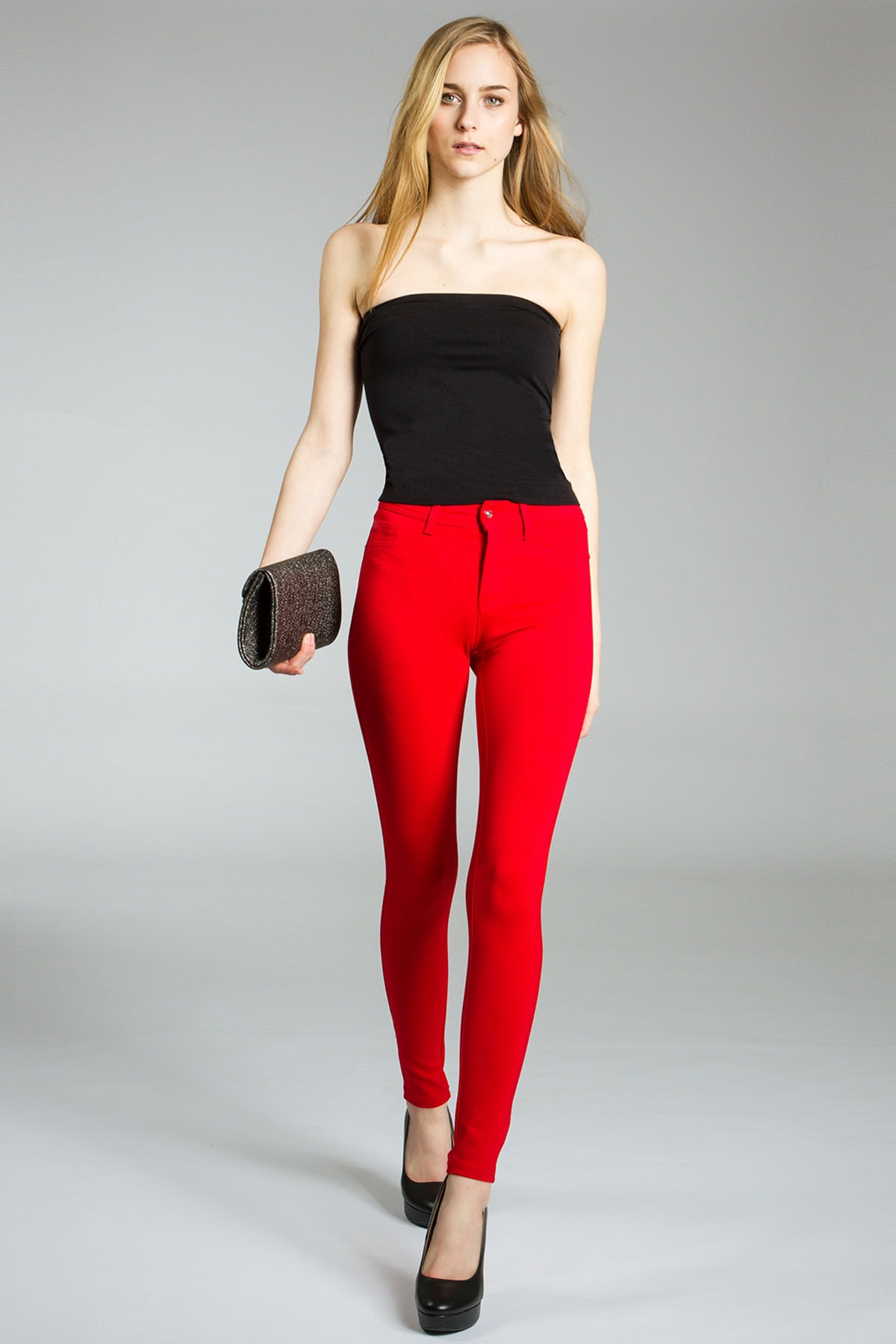 LM Kadın Kırmızı Streç Dar Model Kot Pantolon 1