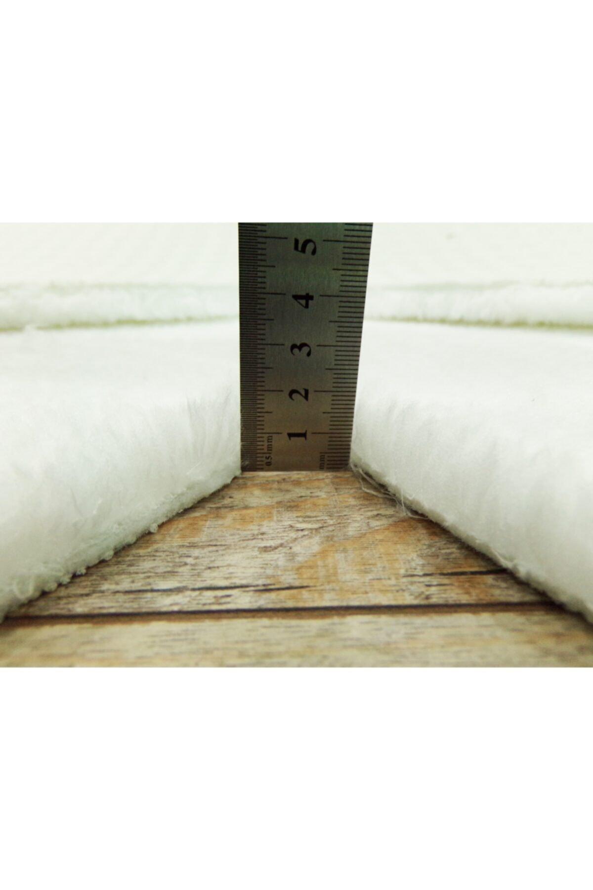 Balat Halı Beyaz Lazer Kesim Peluş Uzun Tüylü Yolluk Halı 2