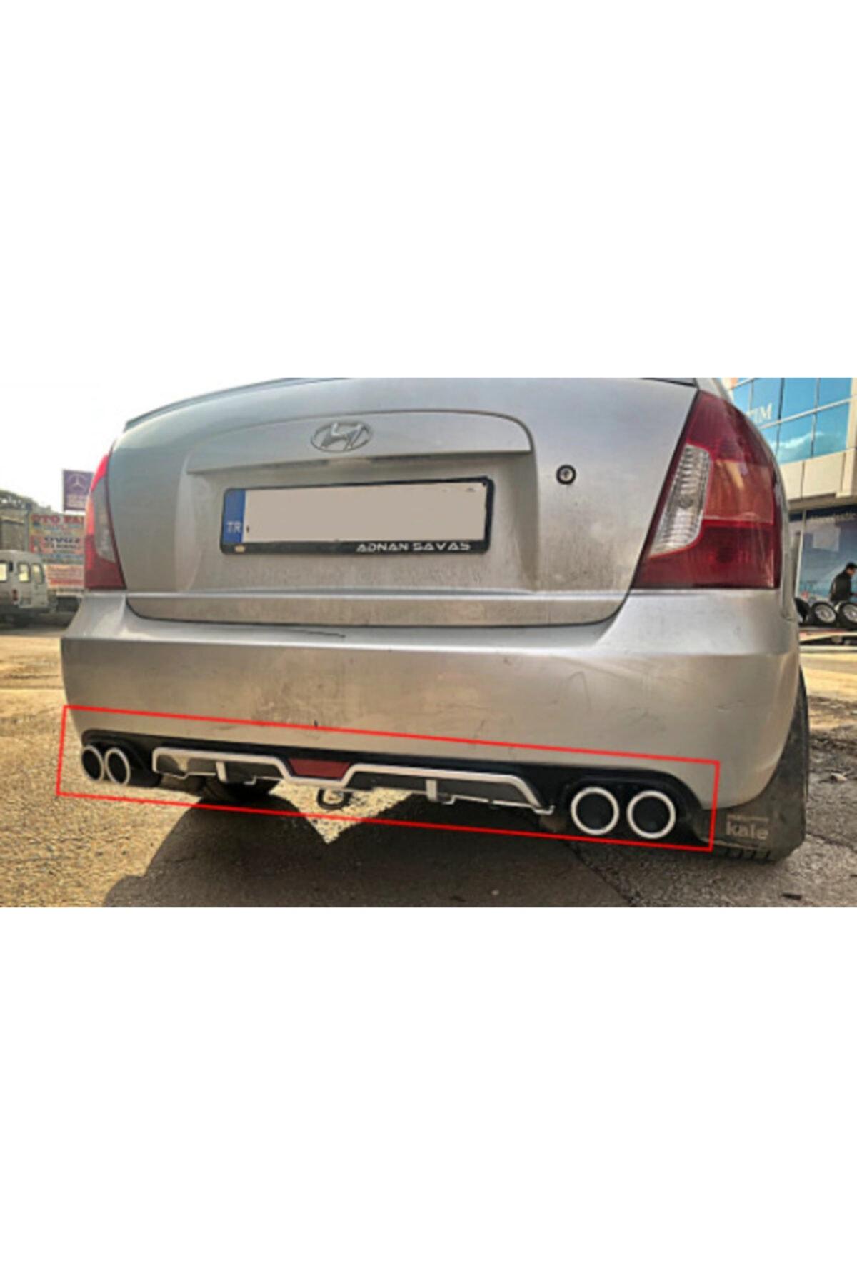 ABS Hyundai Accent Era 4 Çıkışlı Egzoz Görünümlü Arka Tampon Ek'i Difüzör 1