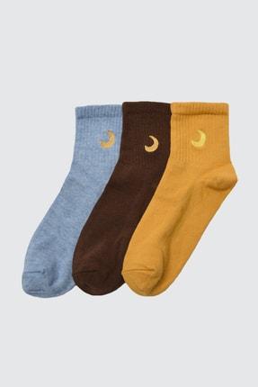 TRENDYOLMİLLA 3'lü Çok Renkli Örme Çorap TWOAW21CO0102