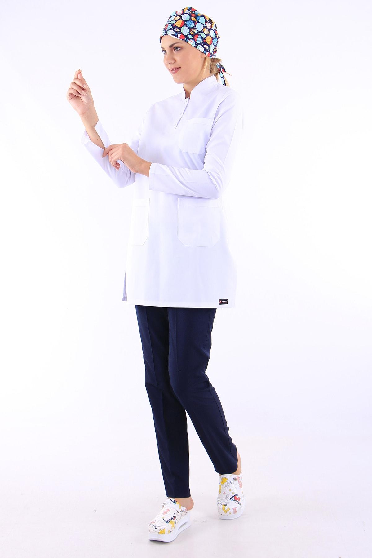 AWEST Kadın Tesettür Hakim Yaka Tek Üst Doktor Forması Hemşire Forması Ameliyat Forması 2
