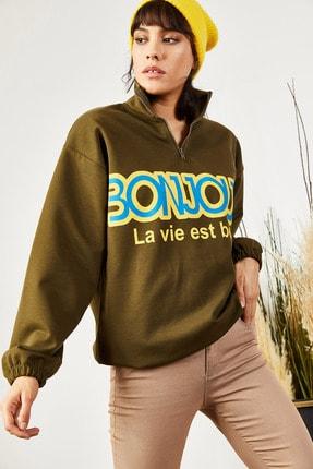 Olalook Kadın Haki Fermuarlı İçi Polarlı Oversize Sweatshirt SWT-19000337