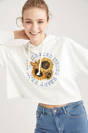 DeFacto Kadın Whıte Ayçiçeği Baskılı Relax Fit Crop Sweatshirt T4474AZ20WN