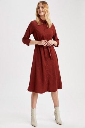 DeFacto Kadın Orange Dokuma Elbise T2961AZ20WN